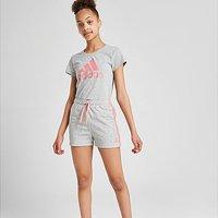 adidas Girls' Large Linear Logo T-Shirt Junior - Grey - Kids