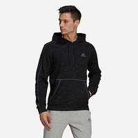 adidas Essentials Mélange Embroidered Small Logo Hoodie - Black Melange - Mens