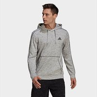 adidas Essentials Mélange Embroidered Small Logo Hoodie - Grey - Mens