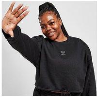 Pink Soda Sport Essentials Plus Size Cropped Crew Neck Sweatshirt - Black - Womens