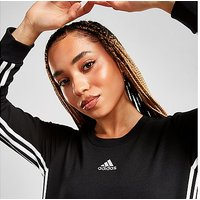 adidas 3-Stripes Badge Of Sport Crew Sweatshirt - Black - Womens