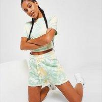 Fila Tie Dye French Terry Shorts - Green - Womens