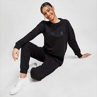 GUESS Satin Logo Joggers - Black - Womens