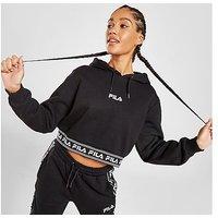 Fila Jaquard Boxy Crop Hoodie - Black - Womens