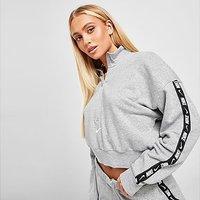 Nike Tape Quarter-Zip Crop Hoodie - Dark Grey - Womens