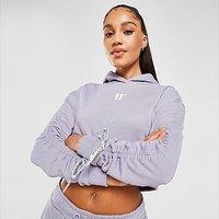11 Degrees Crop Tie Sleeve Hoodie - Purple - Womens