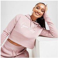Gym King Sky Crop Logo Hoodie - Pink - Womens