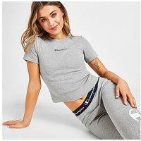 Champion Small Logo Slim Crop T-Shirt - Grey - Womens