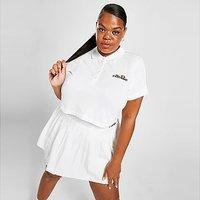 Ellesse Pipe Crop Plus Size Polo Shirt - White - Womens