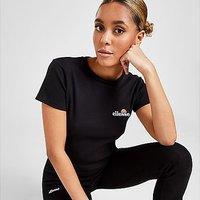 Ellesse Baby Rib Crop T-Shirt - Black - Womens