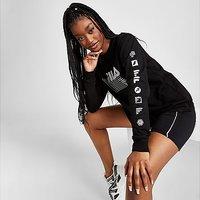 Fila Long Sleeve Grid Boyfriend T-Shirt - Black - Womens
