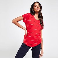 Tommy Hilfiger All Over Print Logo T-Shirt - Red - Womens