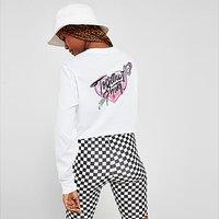 Vans Heart Long Sleeve Crop T-Shirt - White - Womens