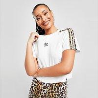 adidas Originals Leopard Luxe Crop T-Shirt - White - Womens