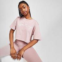 Gym King Script Crop T-Shirt - Pink - Womens
