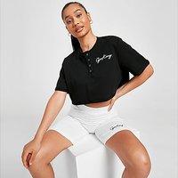 Gym King Script Button Crop T-Shirt - Black