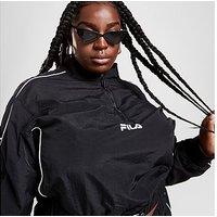 Fila Pipe Panel 1/4 Zip Plus Size Jacket - Black - Womens
