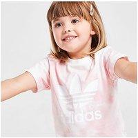 adidas Originals Girls' Tie Dye T-Shirt/Cycle Shorts Set Infant - Pink - Kids