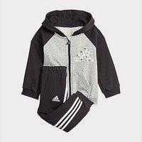 adidas Badge of Sport Full-Zip Hoodie Jogger Set - Medium Grey Heather