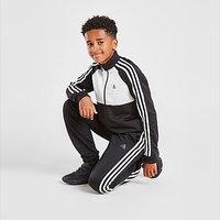 adidas 3-Stripes Poly Full Zip Tracksuit Junior - Black - Kids