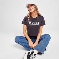 Levis Box Tab Crop T-Shirt - Black - Womens