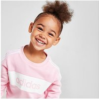 adidas Girls' Linear Essential Crew Tracksuit Infant - Pink - Kids