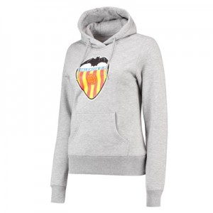 Valencia CF Distressed Crest Hoodie - Heather Grey Marl - Womens